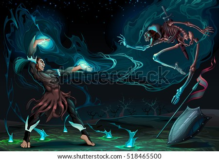 fighting scene between magician