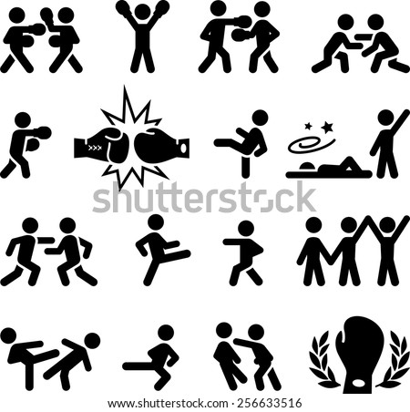 Fighting, wrestling, martial arts and boxing icons. Vector icons for digital and print projects.