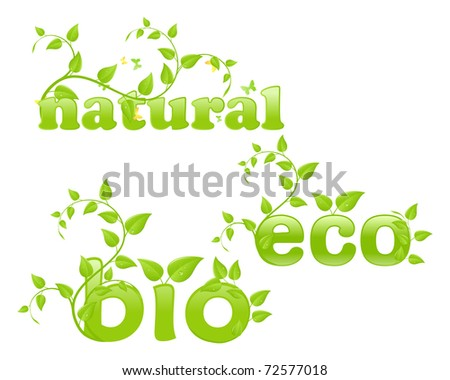 Figurative eco concept, words with floral ornament. Vector illustration, isolated on a white.