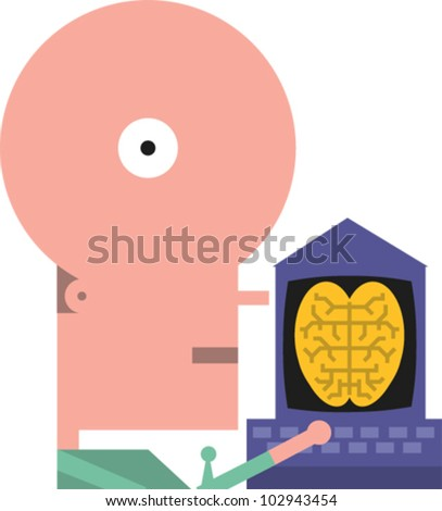 Figure accesses a computer with a brain icon on the screen