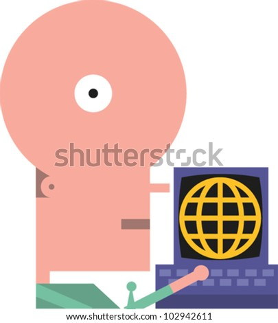 Figure accesses the internet on a computer