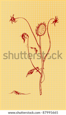 Figure dried flowers of red ink