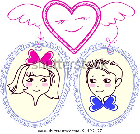 figure heart with wings  which