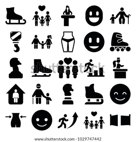 Figure icons. set of 25 editable filled figure icons such as airport desk, slim, smiling emot, chess horse, old man with child, waist fitness, ice skating, family, gate