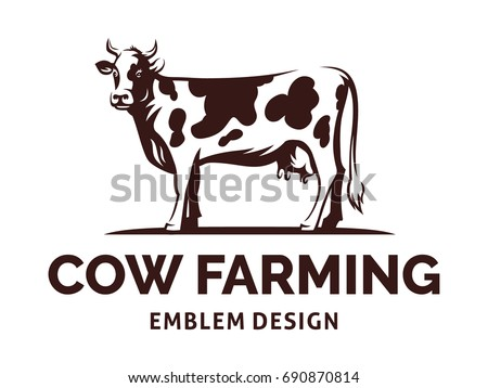 Figure of a cow with horns standing on the ground - farming emblem, logo design, illustration