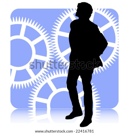 Figure of a man concentrated in thinking