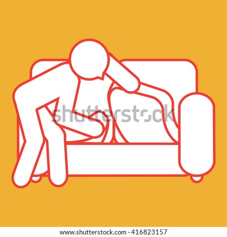 figure searching under couch
