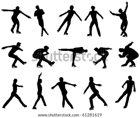figure skating silhouettes - download free vector art, stock