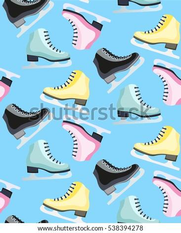 Figure skates pattern on the background. The skates icon. Figure skates symbol. Vector illustration