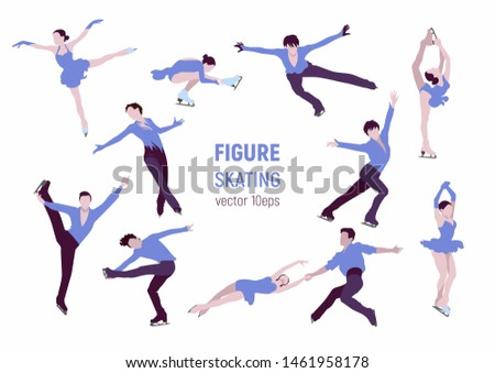 Figure skating. Athletes silhouettes on white backgrounde. Winter sport illustration.  People in motion vector images. Elements of figure skating.