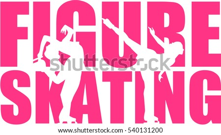 Figure Skating word with silhouette cutouts