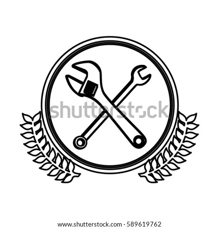 figure symbol wrench and monkey wrench icon, vector illustration design image