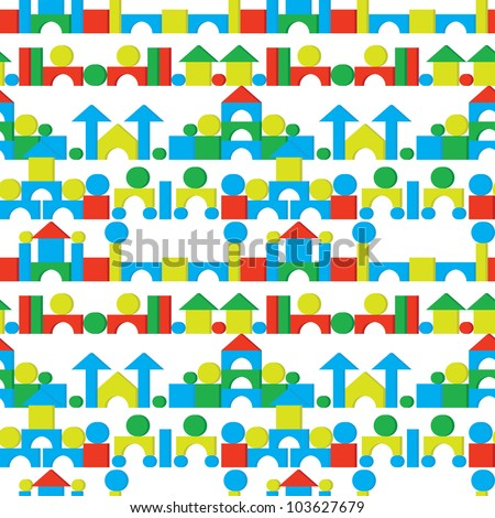 Figures and castles on a white background - seamless vector texture