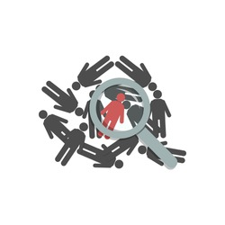 Figures of people lie on a flat surface, top view. Red man under a magnifying glass, loupe. Concept: Choice, The Chosen One, The Perfect Candidate, The Right Person, The Lucky One. Vector illustration
