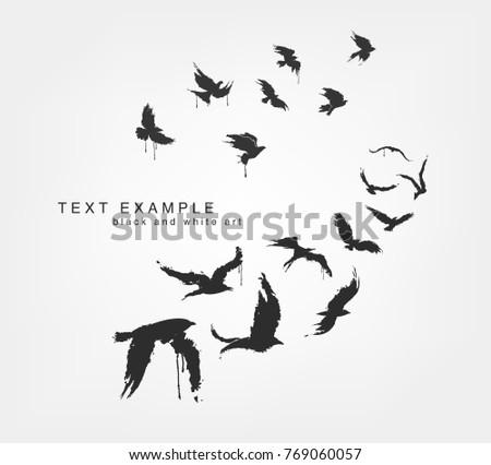 figures of wedge of birds in