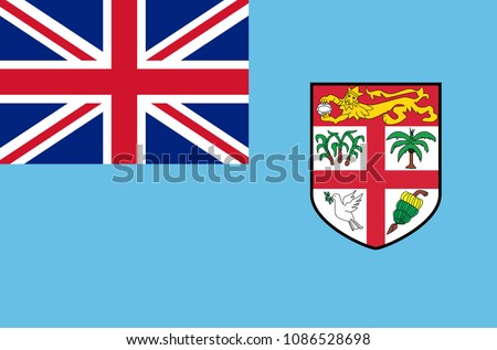 Fijian national flag. Official flag of Fiji island accurate colors, true color
