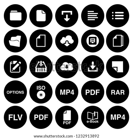 File and folder icons set- all document file formats- archive, paper, computer sign and symbols