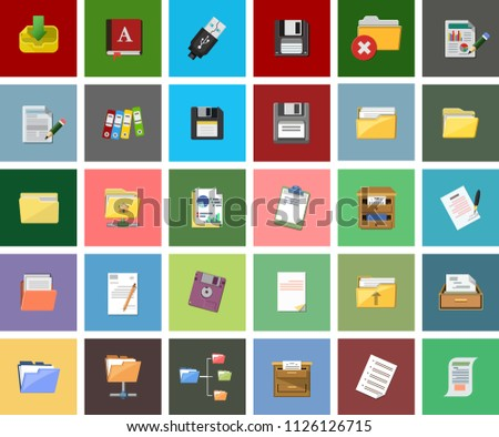 File and Folder illustrations - Technology and computers icon set suitable for info graphics, websites, media and UI interfaces. infographics