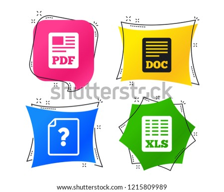 File document and question icons. XLS, PDF and DOC file symbols. Download or save doc signs. Geometric colorful tags. Banners with flat pdf, doc icons. Trendy design. Vector