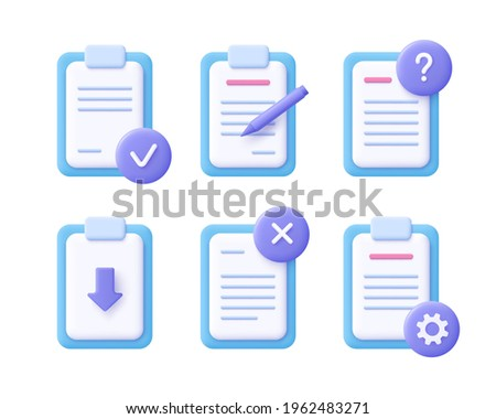 File document concept - realistic icon set. 3d vector illustration.