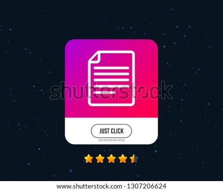 File document icon. Download doc button. Doc file symbol. Web or internet icon design. Rating stars. Just click button. Vector