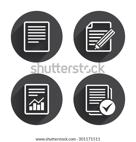 File document icons. Document with chart or graph symbol. Edit content with pencil sign. Select file with checkbox. Circles buttons with long flat shadow. Vector