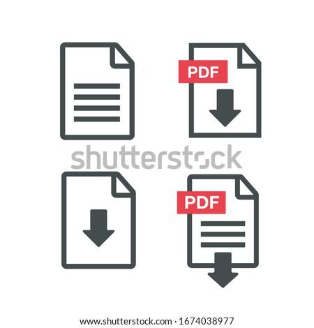 File download icon. PDF Upload icon vector Foto d'archivio ©