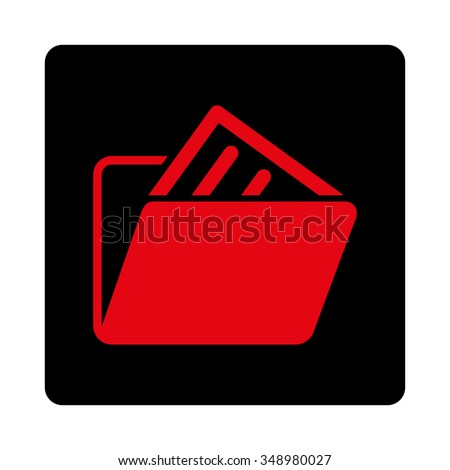 File Folder vector icon. Style is flat rounded square button, intensive red and black colors, white background.