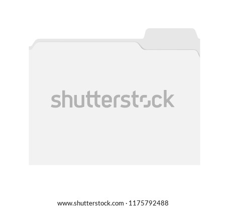 File folder with cut tab isolated on white background, template. Empty document case top view, mockup