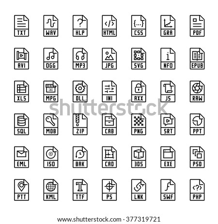File format extensions vector icons