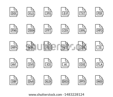 File format flat line icons set. Doc, xls, jpeg, zip, txt, pdf, xml, mp3 document vector illustrations. Outline signs for extension. Pixel perfect. Editable Strokes.