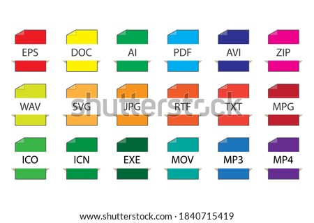 File format icons. Flat vector set of file buttons. Saving various files. Stock image.