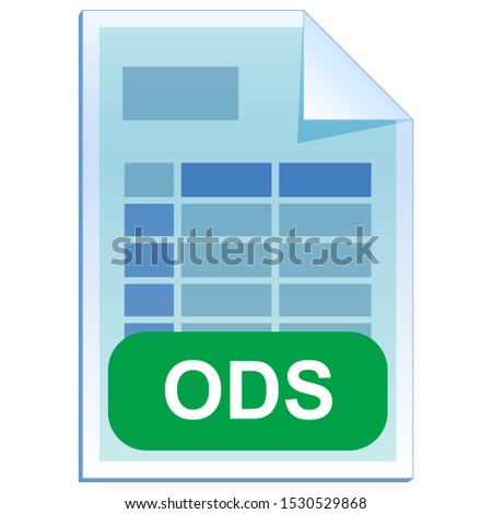 File format or file extension of  spreadsheet document - ODS flat icon for user interface applications and websites.  Open Document Format it is free open standard. Vector illustration