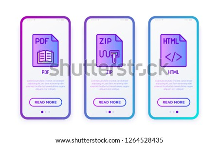 File formats thin line icons set: pdf, zip, html. Modern vector illustration for user mobile interface.