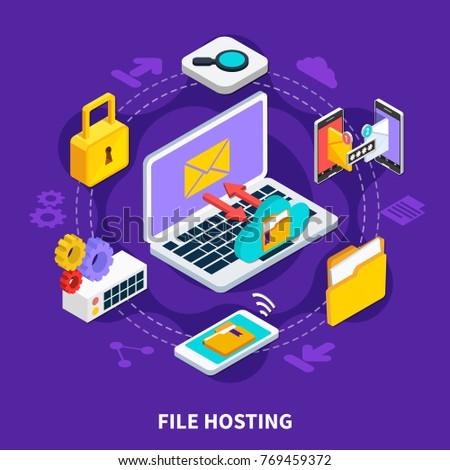 File hosting design concept set of data storage and exchange service isometric icons 3d vector illustration