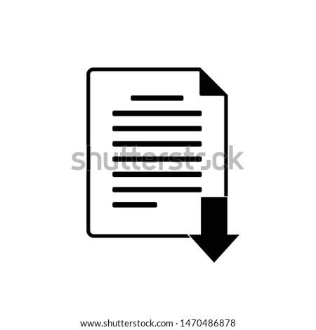 file icon for download with arrow below and white background