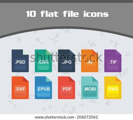 file icon set   colorful flat