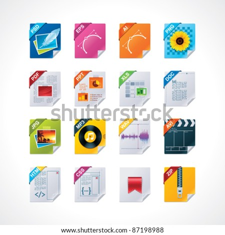 File labels icon set - stock vector