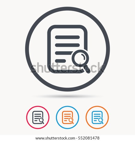 File search icon. Document page with magnifier tool symbol. Colored circle buttons with flat web icon. Vector
