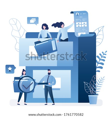 File searching concept. Quick files search. Document archiving and data storage, large database. Various tiny business people with content and folders. Support service, teamwork. Vector illustration