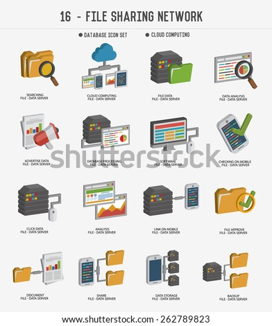 file share and networking icons