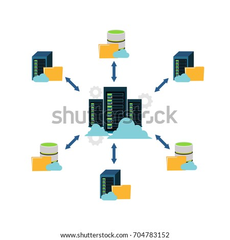 File sharing. Data center. File management. Client server communication. Networking. Foto d'archivio ©