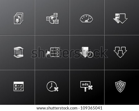 File sharing icon series in metallic style.