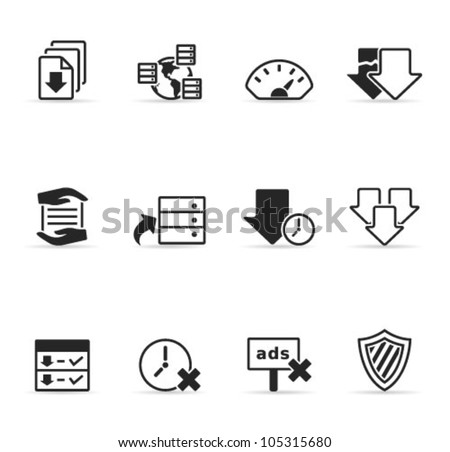 File sharing icon set. Transparent shadows placed on separated layer.