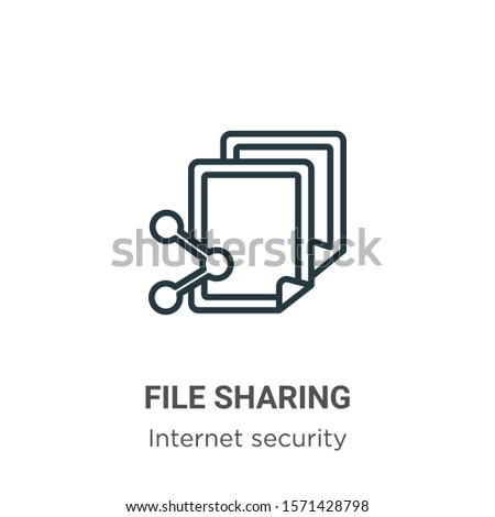 File sharing outline vector icon. Thin line black file sharing icon, flat vector simple element illustration from editable networking concept isolated on white background