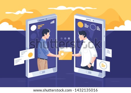 File sharing via internet vector illustration. People standing into mobile phone screens and giving paper folders through modern app flat style concept. Modern technology concept