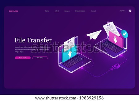 File transfer banner. Exchange data and documents between computers, digital archive and database. Vector landing page with isometric laptops with folders and files