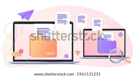 File transfer. Files transferred encrypted form. Program for remote connection between two computers. Full access to remote files and folders. Data Center concept based. Business organization. Web Stok fotoğraf ©