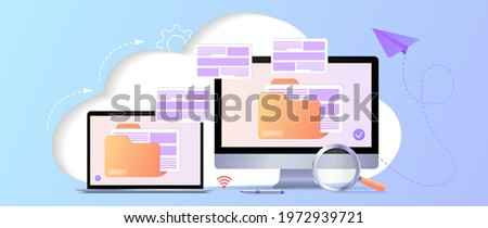 File transfer. Files transferred encrypted form. Program for remote connection to computer. Full access to remote files and folders. Data Center concept based. Database with cloud server. Web banner