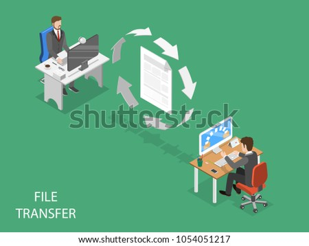 File transfer flat isometric vector concept. Circular arrows are moving indicating data exchange between two office employees.